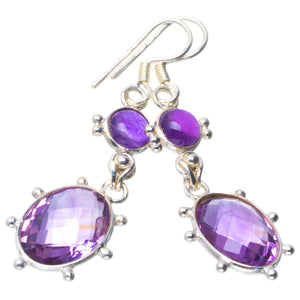 "Natural Amethyst Handmade Unique 925 Sterling Silver Earrings 2"" B2076"