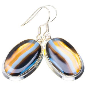 "Natural Botswana Agate Handmade Unique 925 Sterling Silver Earrings 1.75"" B2077"
