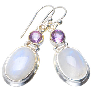 "Natural Rainbow Moonstone and Amethyst Handmade Unique 925 Sterling Silver Earrings 1.5"" B2078"
