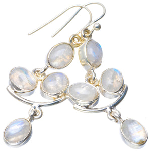 "Natural Rainbow Moonstone Handmade Unique 925 Sterling Silver Earrings 2"" B2083"