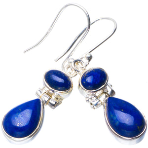 "Natural Lapis Lazuli Handmade Unique 925 Sterling Silver Earrings 1.5"" B2085"