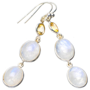 "Natural Rainbow Moonstone and Citrine Handmade Unique 925 Sterling Silver Earrings 2"" B2088"