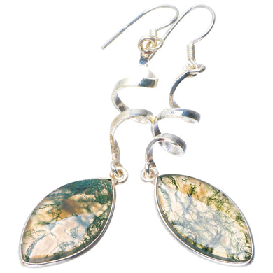 Natural Moss Agate Handmade Unique 925 Sterling Silver Earrings 2.5