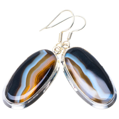 Natural Botswana Agate Handmade Unique 925 Sterling Silver Earrings 2