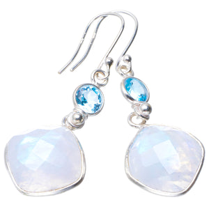 "Natural Rainbow Moonstone and Blue Topaz Handmade Unique 925 Sterling Silver Earrings 2"" B2099"