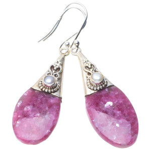 "Natural Lepidolite and River Pearl Handmade Unique 925 Sterling Silver Earrings 2.25"" B2105"
