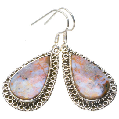 Natural Ocean Jasper Handmade Unique 925 Sterling Silver Earrings 1.75