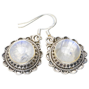 "Natural Rainbow Moonstone Handmade Unique 925 Sterling Silver Earrings 1.5"" B2305"