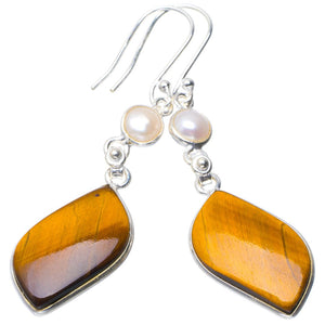 "Natural Tiger Eye and River Pearl Handmade Unique 925 Sterling Silver Earrings 2.25"" B2352"