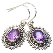 "Natural Amethyst Handmade Unique 925 Sterling Silver Earrings 1.25"" B2368"