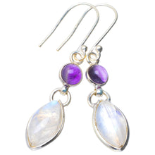 "Natural Rainbow Moonstone and Amethyst Handmade Unique 925 Sterling Silver Earrings 1.75"" B2453"