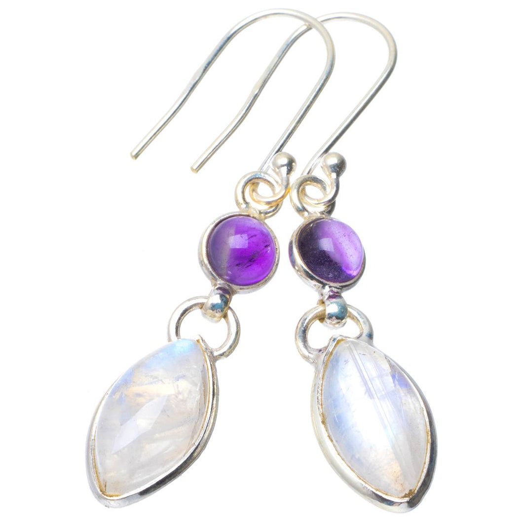 Natural Rainbow Moonstone and Amethyst Handmade Unique 925 Sterling Silver Earrings 1.75