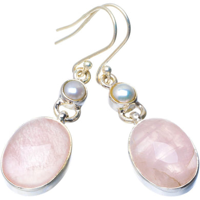 Natural Rose Quartz and River Pearl Handmade Unique 925 Sterling Silver Earrings 2