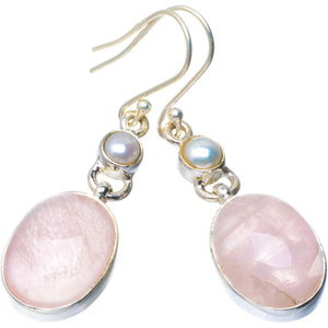 "Natural Rose Quartz and River Pearl Handmade Unique 925 Sterling Silver Earrings 2"" B2454"