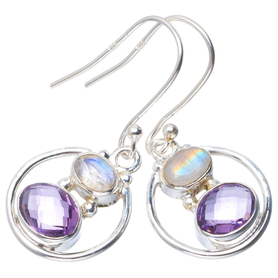 Natural Amethyst and Rainbow Moonstone Handmade Unique 925 Sterling Silver Earrings 1.25