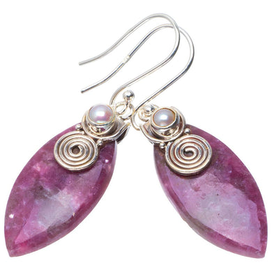 Natural Lepidolite and River Pearl Handmade Unique 925 Sterling Silver Earrings 1.75