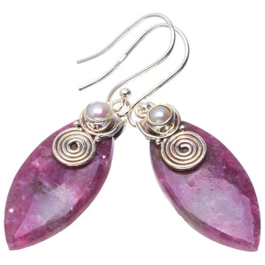 "Natural Lepidolite and River Pearl Handmade Unique 925 Sterling Silver Earrings 1.75"" B2484"