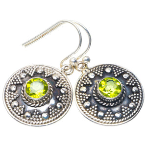 "Natural Peridot Handmade Unique 925 Sterling Silver Earrings 1.25"" B2501"
