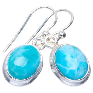 "Natural Caribbean Larimar Handmade Unique 925 Sterling Silver Earrings 1"" B2505"