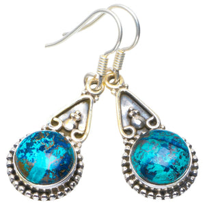 "Natural Chrysocolla Handmade Unique 925 Sterling Silver Earrings 1.5"" B2506"
