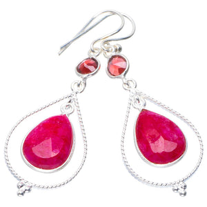 "Natural Cherry Ruby and Garnet Handmade Unique 925 Sterling Silver Earrings 2"" B2513"