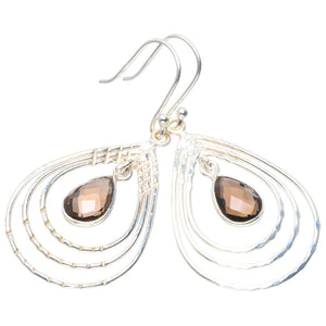 "Natural Smoky Quartz Handmade Unique 925 Sterling Silver Earrings 2"" B2515"