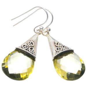 "Natural Citrine Handmade Unique 925 Sterling Silver Earrings 1.75"" B2517"