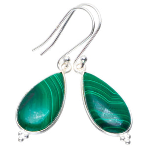 "Natural Malachite Handmade Unique 925 Sterling Silver Earrings 1.75"" B2518"