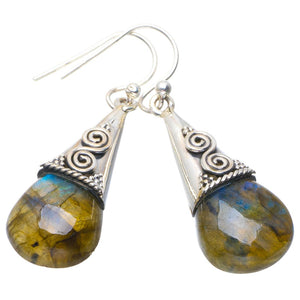 "Natural Blue Fire Labradorite Handmade Unique 925 Sterling Silver Earrings 1.5"" B2519"