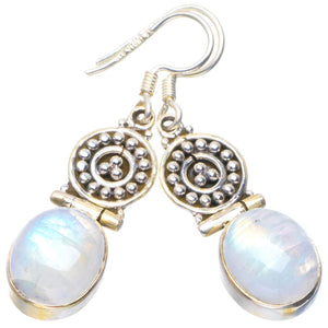 "Natural Rainbow Moonstone Handmade Unique 925 Sterling Silver Earrings 1.75"" B2520"