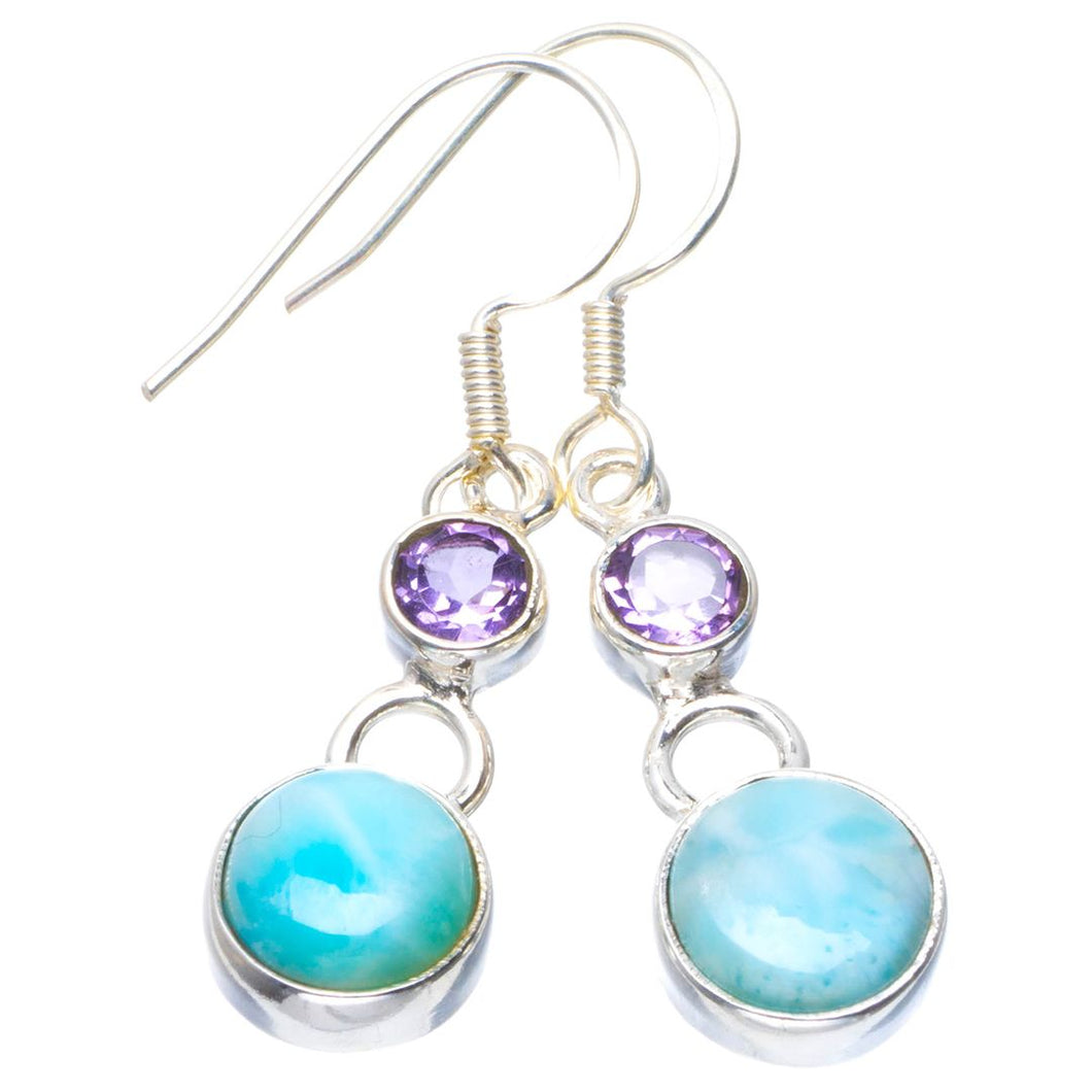 Natural Caribbean Larimar and Amethyst Handmade Unique 925 Sterling Silver Earrings 1.5