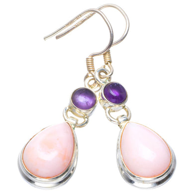 Natural Pink Opal and Amethyst Handmade Unique 925 Sterling Silver Earrings 1.75