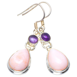 "Natural Pink Opal and Amethyst Handmade Unique 925 Sterling Silver Earrings 1.75"" B2527"