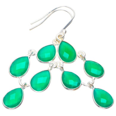 Natural Chalcedony Handmade Unique 925 Sterling Silver Earrings 2.25