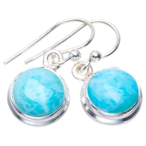 "Natural Caribbean Larimar Handmade Unique 925 Sterling Silver Earrings 1"" B2530"