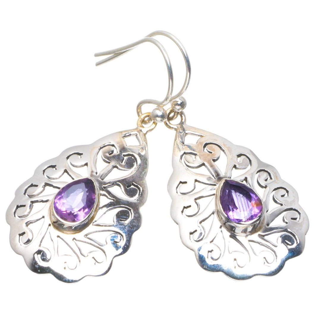Natural Amethyst Handmade Unique 925 Sterling Silver Earrings 1.5
