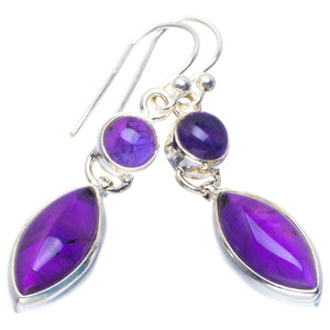 "Natural Amethyst Handmade Unique 925 Sterling Silver Earrings 1.75"" B2549"