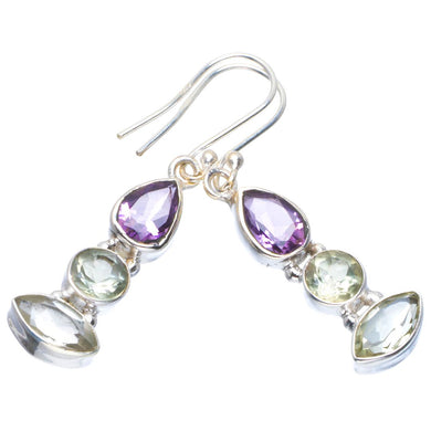 Natural Green Amethyst and Amethyst Handmade Unique 925 Sterling Silver Earrings 1.75