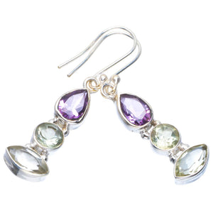 "Natural Green Amethyst and Amethyst Handmade Unique 925 Sterling Silver Earrings 1.75"" B2550"