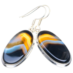 "Natural Botswana Agate Handmade Unique 925 Sterling Silver Earrings 1.75"" B2551"