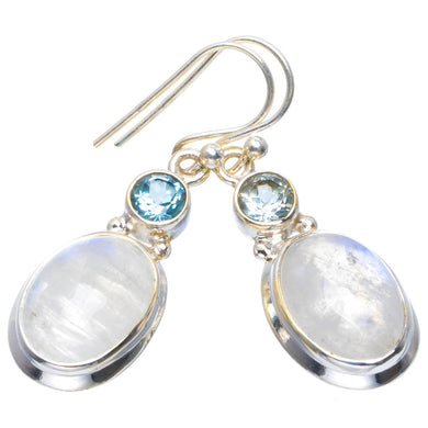 Natural Rainbow Moonstone and Blue Topaz Handmade Unique 925 Sterling Silver Earrings 1.5