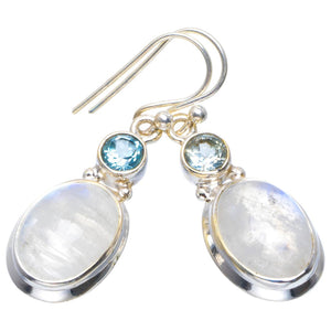 "Natural Rainbow Moonstone and Blue Topaz Handmade Unique 925 Sterling Silver Earrings 1.5"" B2552"