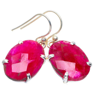 "Natural Cherry Ruby Handmade Unique 925 Sterling Silver Earrings 1.5"" B2553"