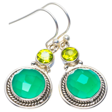 Natural Chalcedony and Peridot Handmade Unique 925 Sterling Silver Earrings 1.5