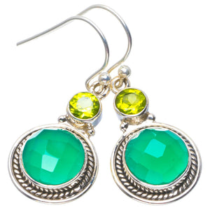 "Natural Chalcedony and Peridot Handmade Unique 925 Sterling Silver Earrings 1.5"" B2557"