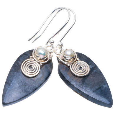 Natural Picasso Jasper and River Pearl Handmade Unique 925 Sterling Silver Earrings 1.75