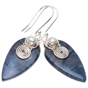 "Natural Picasso Jasper and River Pearl Handmade Unique 925 Sterling Silver Earrings 1.75"" B2559"