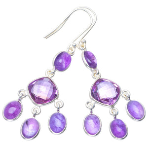 "Natural Amethyst Handmade Unique 925 Sterling Silver Earrings 2.25"" B2604"