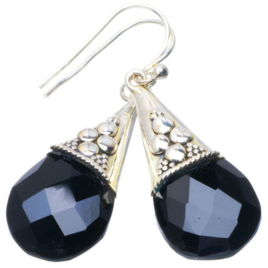 Natural Black Onyx Handmade Unique 925 Sterling Silver Earrings 1.75