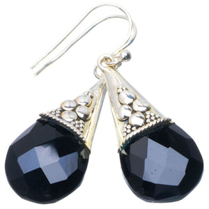 "Natural Black Onyx Handmade Unique 925 Sterling Silver Earrings 1.75"" B2605"